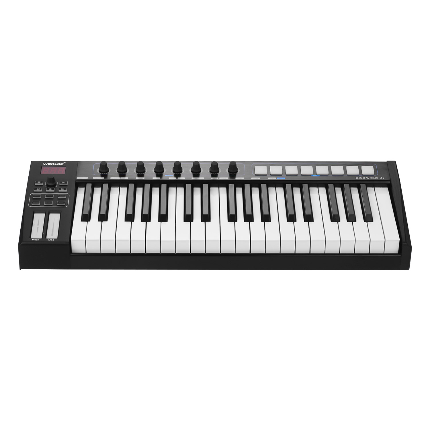 37/25 Keys USB MIDI Controller Keyboard 37 Semi-weighted Keys 8 RGB Backlit Trigger Pads LED Display with USB Cable