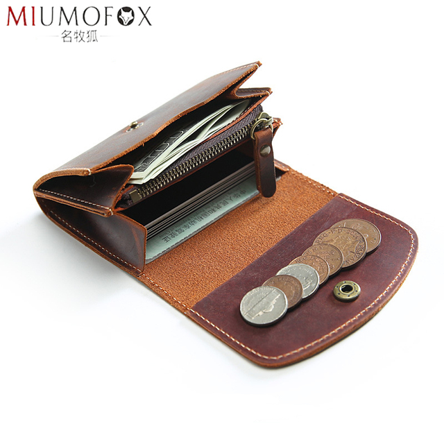 Coin Purse Men Wallets Genuine Leather Mini Purse with Zipper Pocket Slim Wallet Card Holder Small Change Pouch Male Billfold