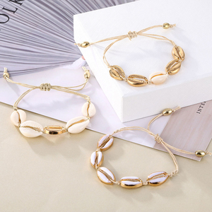 IPARAM Bohemia Vintage Shell Rope Chain Bracelet Women Beach Sea Shell Bracelet Anklet Jewelry Party Gift Wholesale(China)