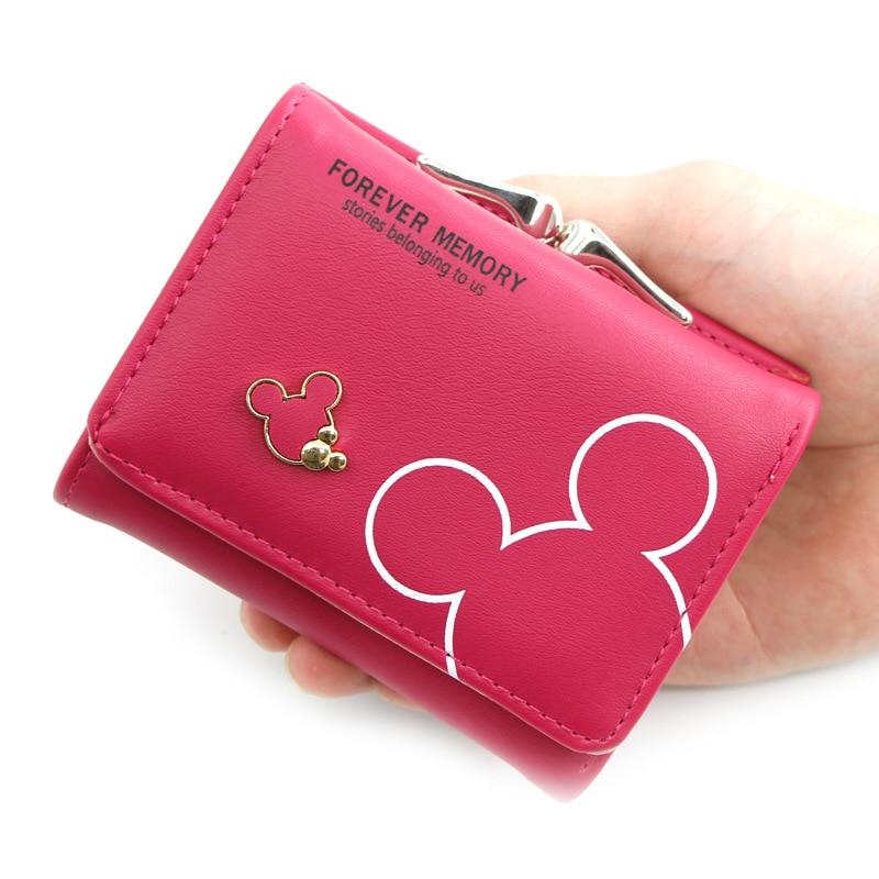 Женский маленький кошелек, милый кошелек с мультяшным рисунком, кошелек с застежкой и держателем для карт, женские кошельки и бумажники, жен...