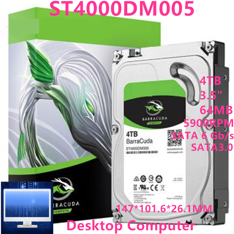 """New HDD For Seagate Brand BarraCuda 4TB 3.5"""" SATA 6 Gb/s 256MB 5400RPM For Internal Hard Disk For Monitoring HDD For ST4000DM004 2"""