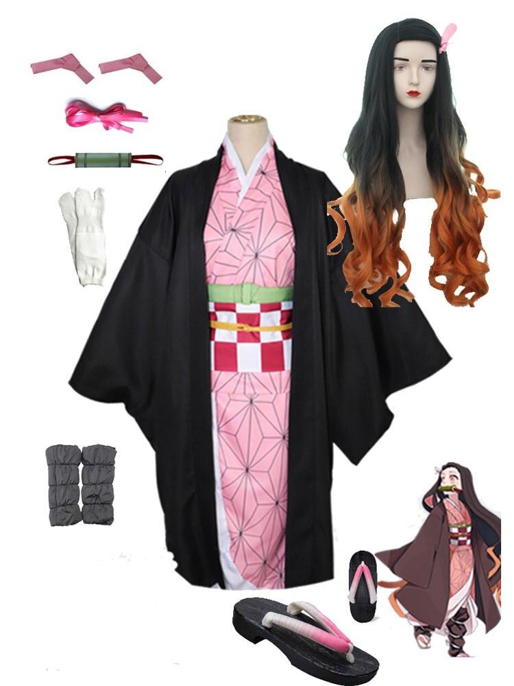 Costume Wig Kimono Cosplay Demon Slayer Anime Kimetsu Nezuko Zenitsu No-Yaiba Adult Kids
