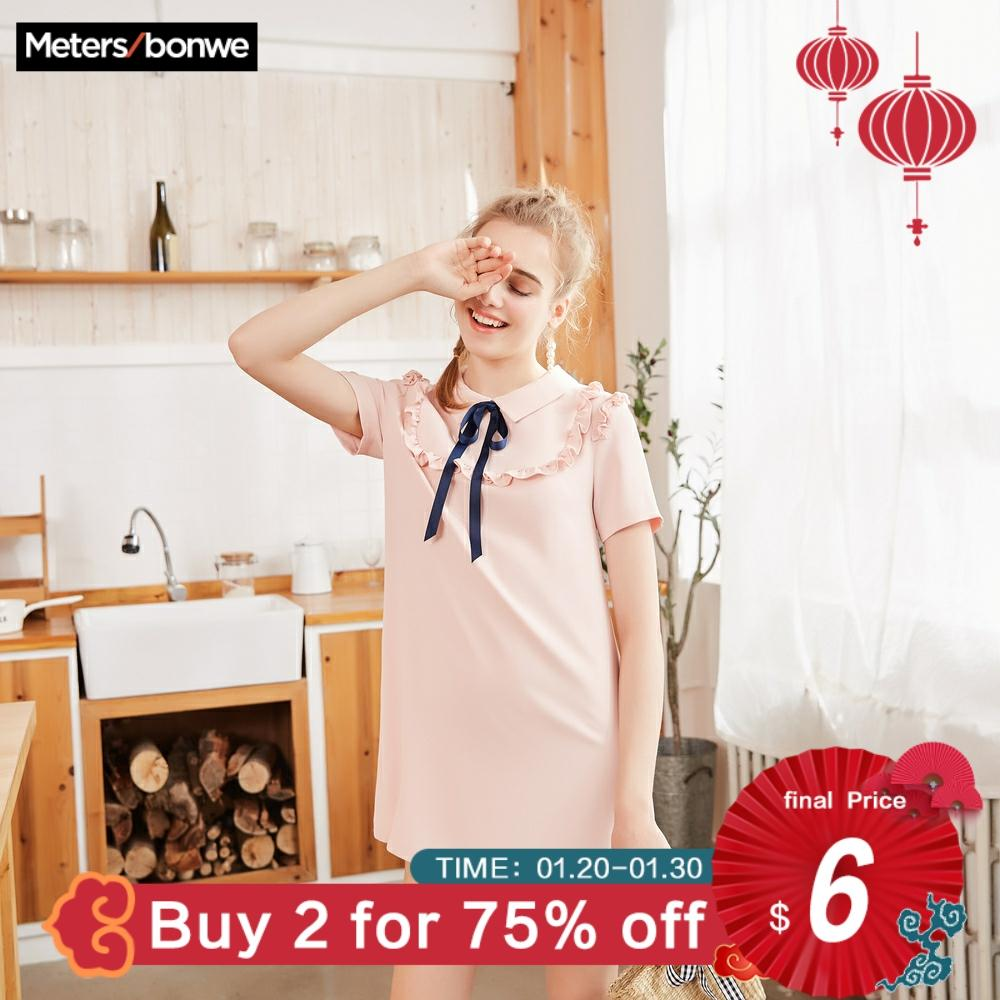 Metersbonwe chiffon dress female spring outfit new style  temperament contracted agaric edge short sleeveDresses