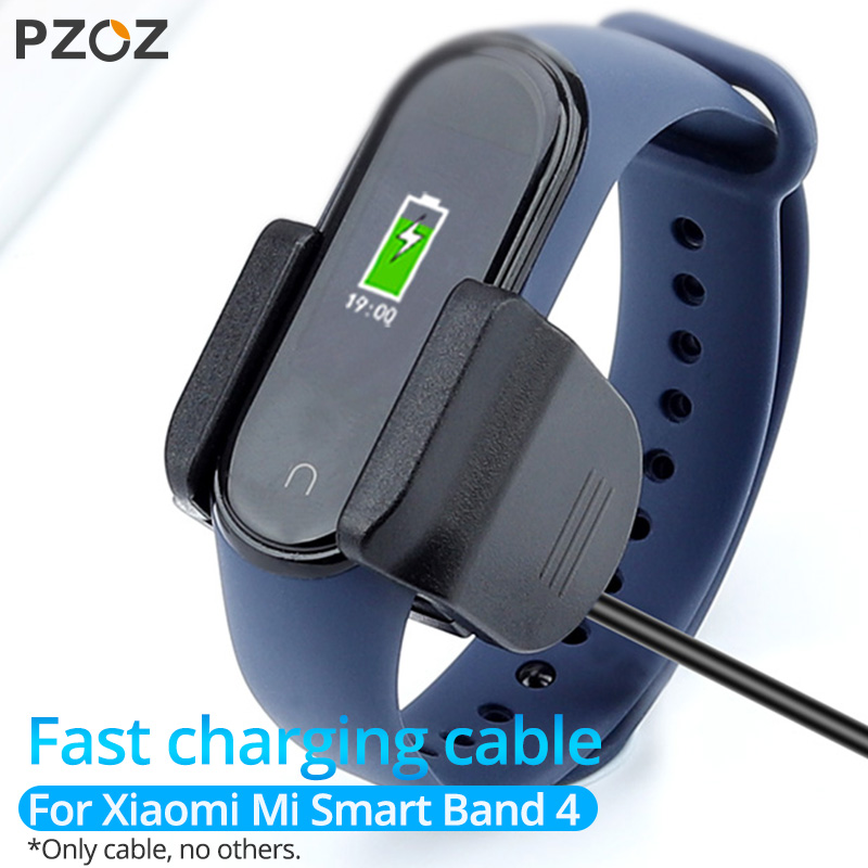 PZOZ USB Charger Cable For Xiaomi Mi Band 4 NFC Dock Clip Adapter Fast Charging Wire For Xiaomi Miband 4 Cord Accessories