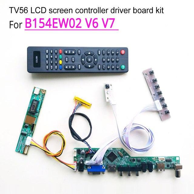 Voor B154EW02 V6 V7 Vga Hdmi Av Usb Rf T.V56 Controller Board 1Ccfl 30Pin Lvds Afstandsbediening + Inverter + Toetsenbord Lcd Display Diy Kit