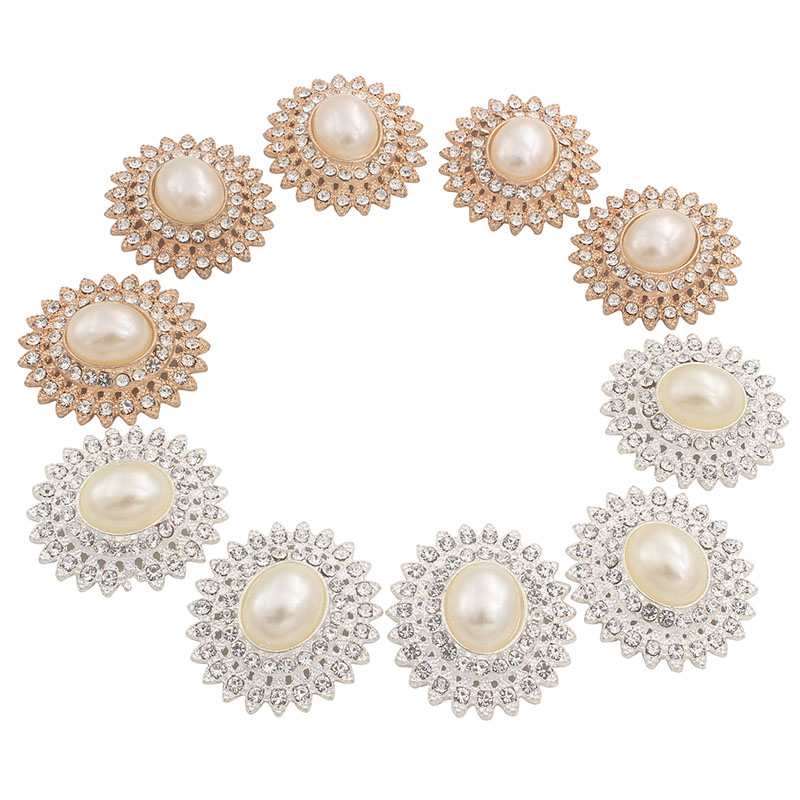 5pcs Rhinestone Oval Buttons Embellishments for Wedding Jewelry DIY Making