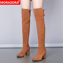 MORAZORA 2020 Big size 40 winter keep warm women boots fashion high heels ladies shoes round toe solid color over the knee boots(China)