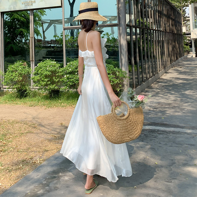 2019 Vacation Style Camisole White Elegant Xian Qi Long Dress