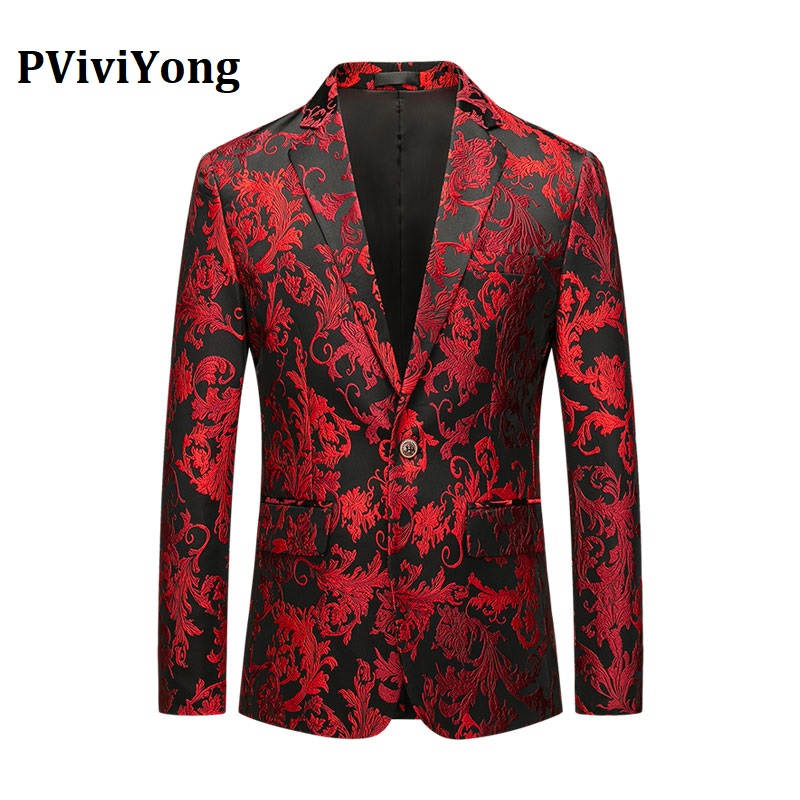 PViviYong Brand 2019 High Quality Men's Suit Top,banquet  Party Men Blazer Jacket Festival Christmas Suit Jacket Men Coat 909