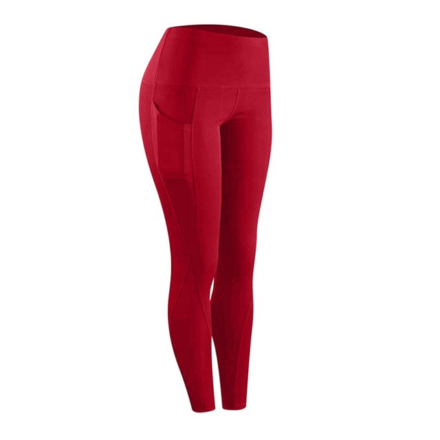 High waist sports legging with pocket for women fashion new female workout stretch Yoga pants plus size Elastic fitness leggings 2