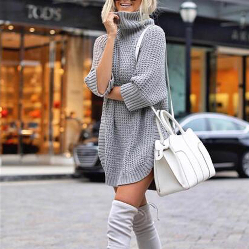 Fashion Women Casual Irregular Sweater Dress Solid Long Sleeve Half Sleeve Knitted Sweater Top Pullover Feminino 50Au2914