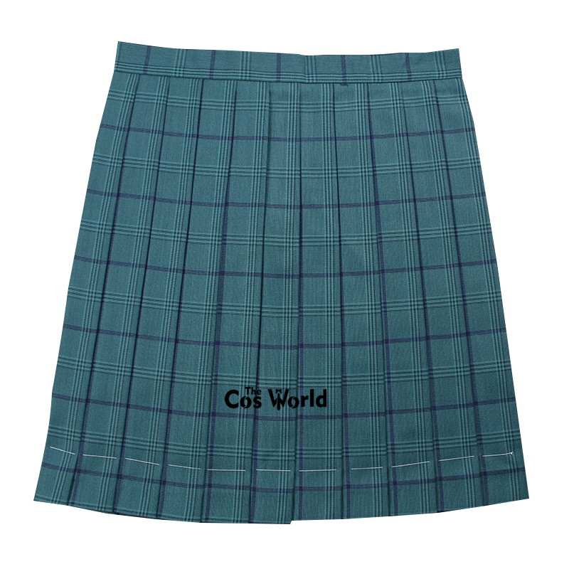 [Atrovirens Navy Blue] Girl's Summer High Waist Pleated Skirts Plaid Skirts Women Dress For JK School Uniform Students Cloths