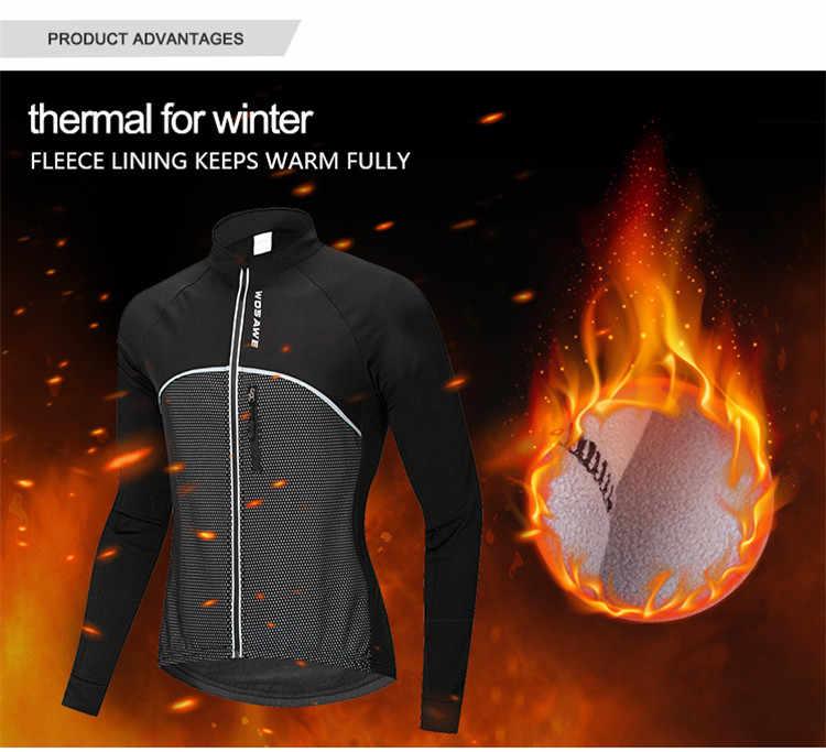 WOSAWE chaqueta de ciclismo a prueba de viento polar térmico invierno cálido Jersey de manga larga superior bicicleta ciclismo ropa deportiva