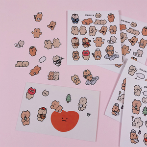 Ins Cute Cartoon Funny Little Bear Stickers Seal Sticker Color Hand Account Decoration Wall Stickers Korean Campus Stationery
