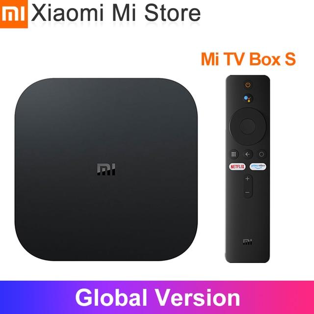 원래 글로벌 버전 Xiaomi 미 박스 S 안드로이드 8.1 4 K 쿼드 코어 스마트 TV 박스 2 기가 바이트 8 기가 바이트 HDMI 2.4G 5.8G 와이파이 말리 450 1000Mbp