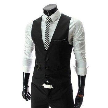 2019 Hot Men Formal Dress Suit Vests Slim Fit Men Suit Vest Male Wedding Party Waistcoat Homme Casual Sleeveless Business Jacket