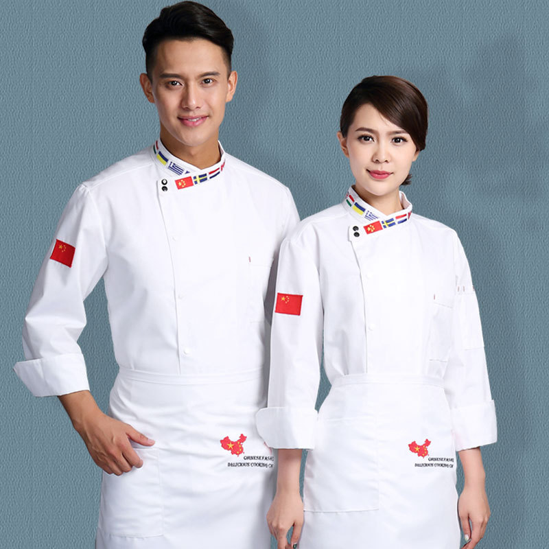 Top Grade Hotel Chef Work Clothes Long Sleeve Music Taverns Hotel Kitchen Chef Clothing Autumn & Winter Baker Clothes