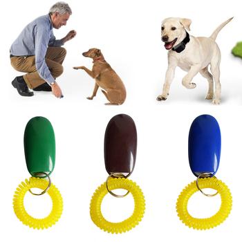 Uniwersalny zdalny przenośny przycisk psa zwierząt Clicker Sound Trainer Pet przyrząd szkoleniowy kontrola nadgarstek opaska akcesoria New Arrival tanie i dobre opinie Szkolenia Clickers Z tworzywa sztucznego Cat Dog training