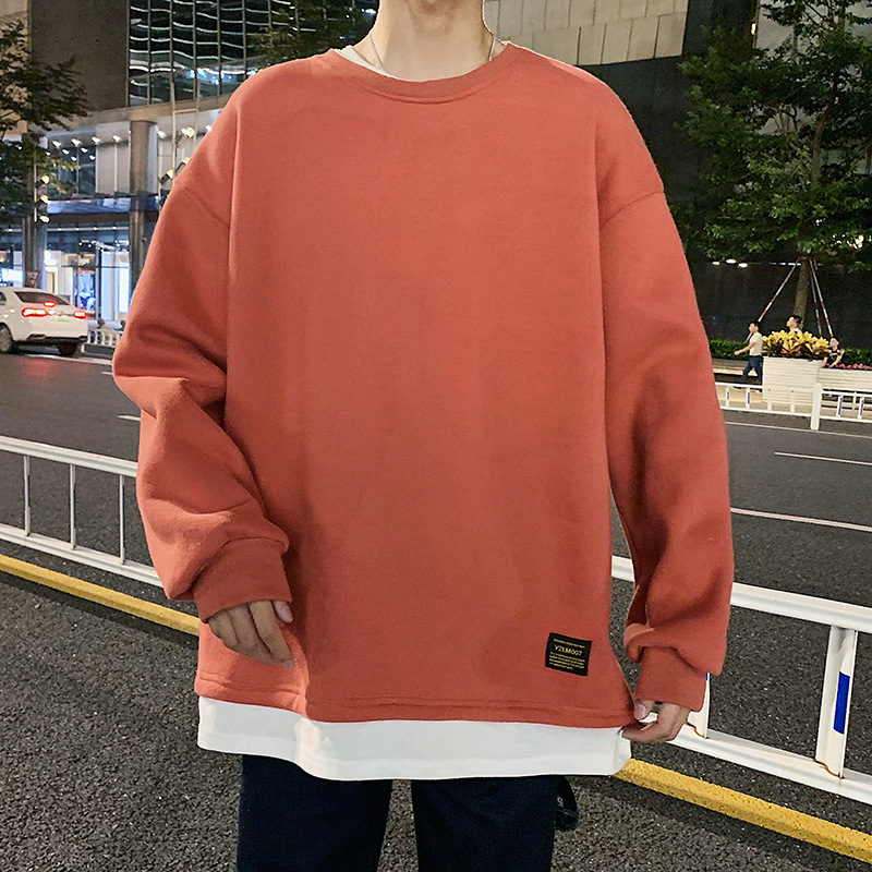 2020 Autumn Casual Sports Mock Two-Piece T-shirt Pullover Hoody Male Loose Crew Neck Long-sleeved Sweater Base Shirt Male 2