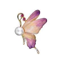Gariton Cute Purple Animal Butterfly Brooches Enamel Colorful Pins And Brooch For Women Vintage Party Gifts