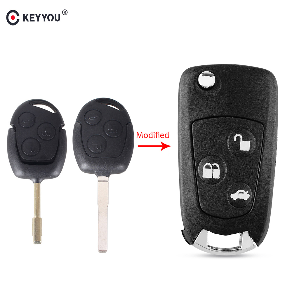KEYYOU 3 Buttons Uncut Blank Modified Folding Filp Car <font><b>Remote</b></font> <font><b>Key</b></font> Case Cove <font><b>For</b></font> <font><b>Ford</b></font> Mondeo <font><b>Focus</b></font> 2 3 Festiva Fiesta <font><b>Key</b></font> Case image