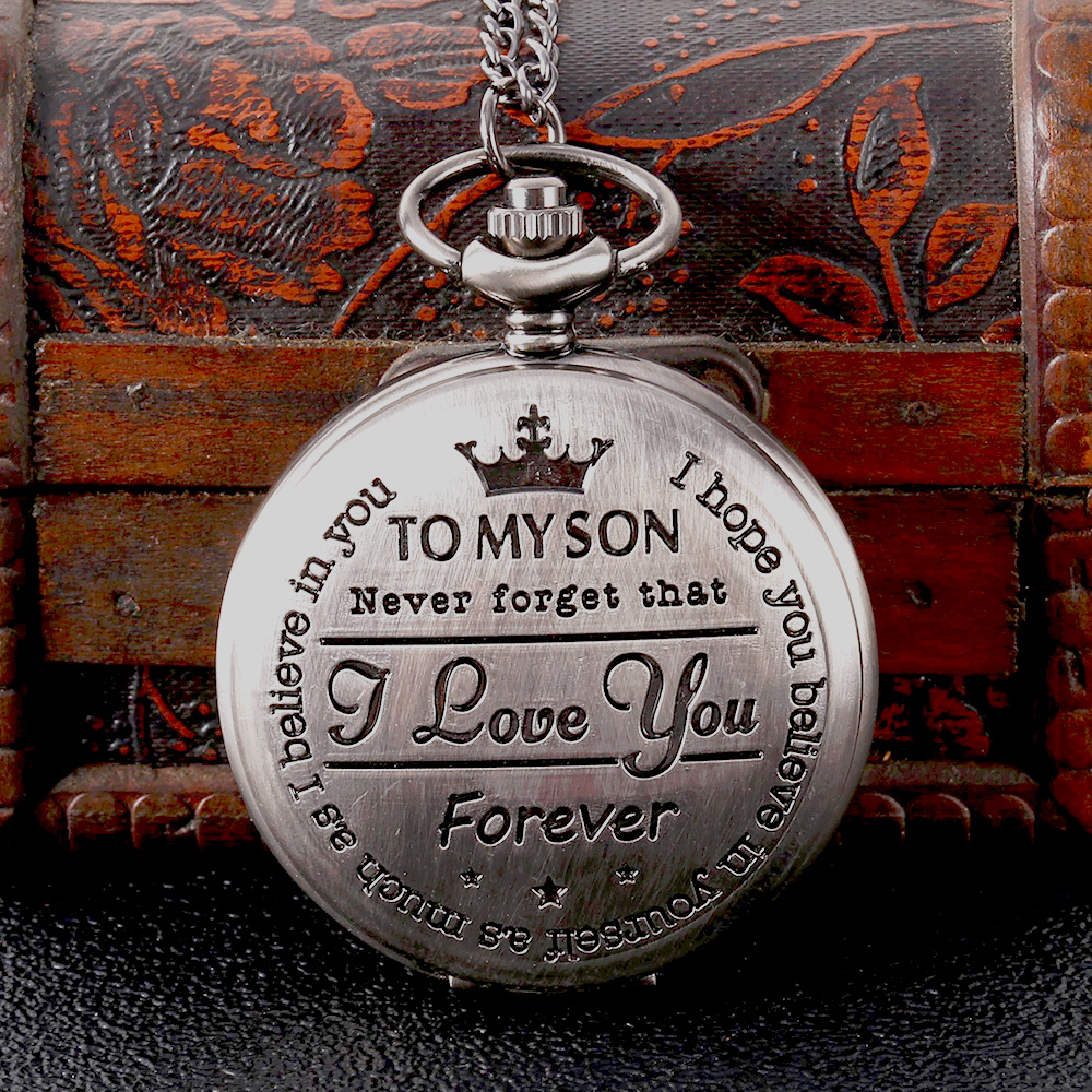 Silver Send Holiday Gift English Lettering Creative Large Pocket Watch