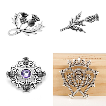 Vintage Scottish Thistle Flower Brooches For Women Men Outlander Viking Celtics Knot Lapel Pins Scotland Jewelry image