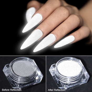 Reflected Nail Glitter Powder Shiny Glow Party Dipping Nail Powder Reflective Nail Art Tools for Disco Dancing Luminous Chrome 1