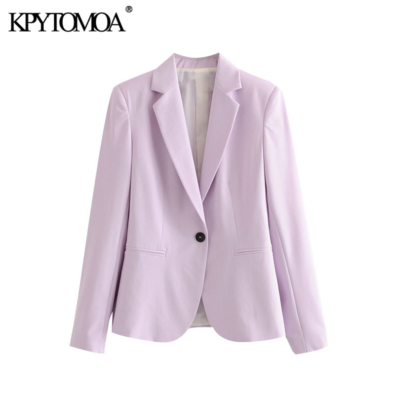 KPYTOMOA Women 2020 Fashion Office Wear Single Buttons Basic Blazer Coat Vintage Long Sleeve Pockets Female Outerwear Chic Tops