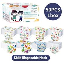 Boîte de masques jetables de dessin animé pour enfants, 3 couches, filtre d'hygiène, masque buccal épais, boucles auriculaires, livraison rapide