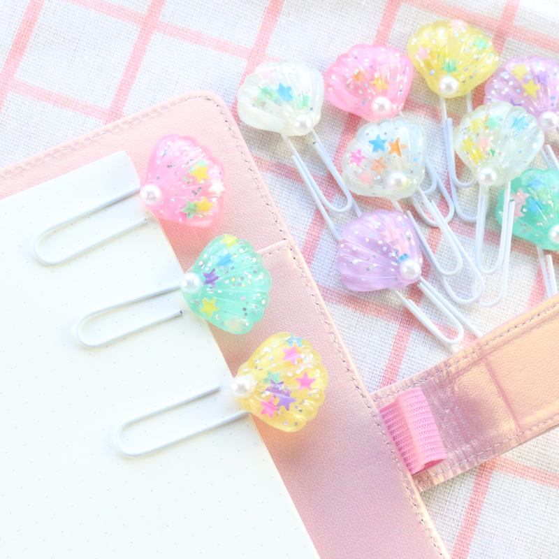 Domikee Cute Creative Kawaii Shell Shape Office School Paper Clips Bookmark Set Candy Student Memo Pad Organizer Clip Stationery