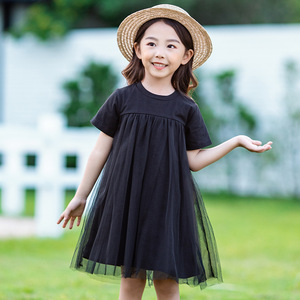 Image 3 - Новинка 2020, детская одежда, платья для маленьких принцесс, Сетчатое лоскутное вечернее платье для девочек, летнее платье для подростков и детей, симпатичное Хлопковое платье, #8402