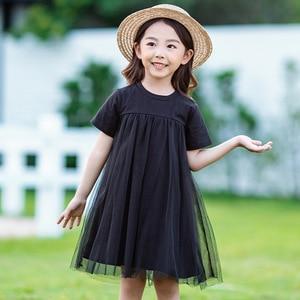 Image 3 - Nowy 2020 odzież dziecięca dziecko księżniczka sukienki siatkowy Patchwork sukienka dla dziewczynek na imprezę nastoletnia dziecięca letnia sukienka bawełniana śliczna, #8402