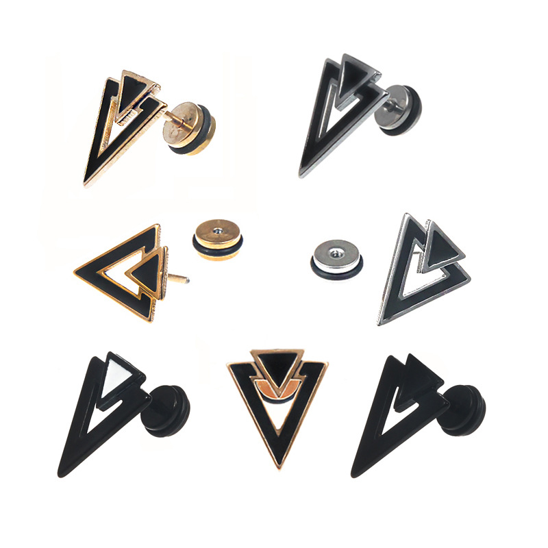 Fashion Geometric Triangle Men's Earrings Punk Charm Earring Trendy Cool Hip-Hop Men Male Jewelry Gift