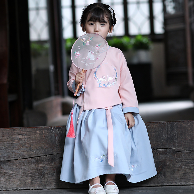 New Chinese Folk Dance Dress Child Hanfu Dress Ancient Chinese Tang Suit Princess Clothing For Kids Stage Wear Costume SL1205