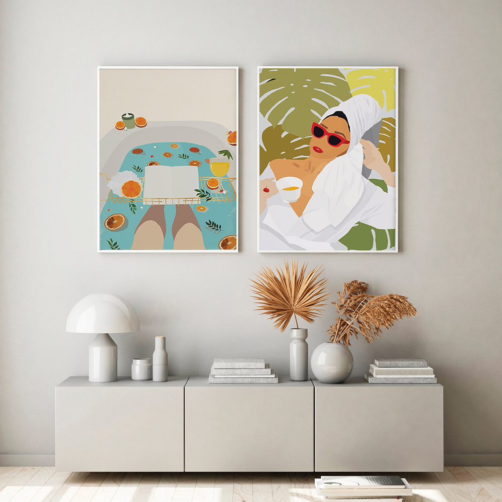 Bath Girl Portrait In Bathtub Painting On Canvas Cuadros Posters And Prints Relaxation Quotes Wall Art Pictures For Bedroom Home Best Deal 89e5 Cicig