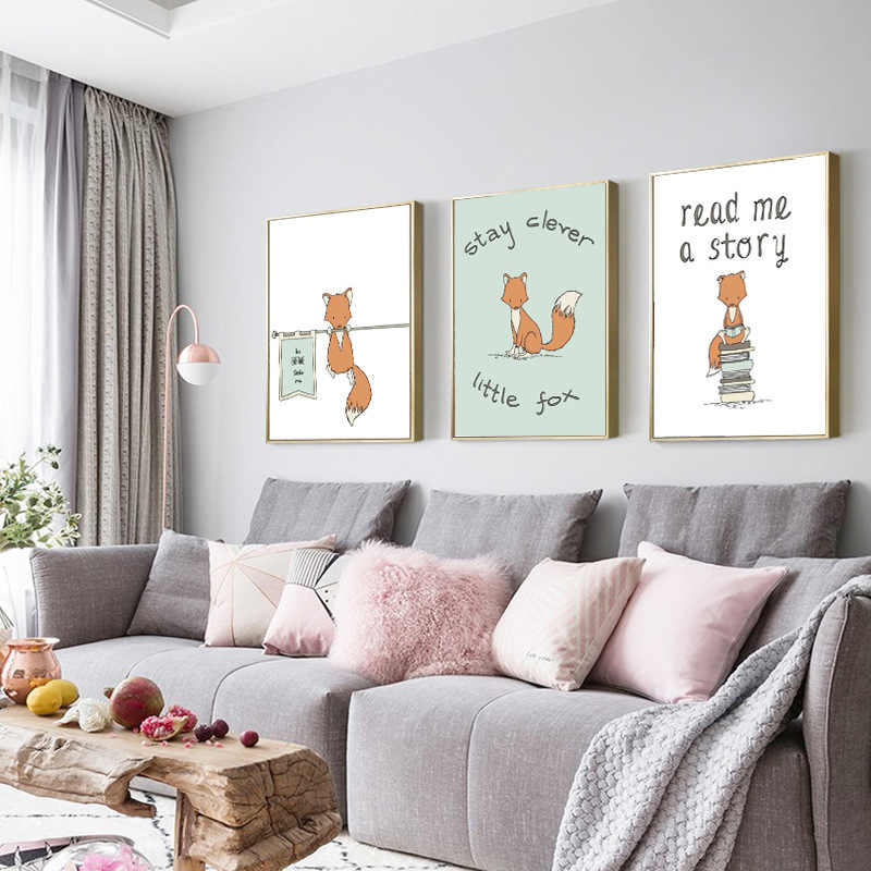 Nórdico bonito urso raposa decorativo das crianças pintura pendurada dos desenhos animados animal panda raposa berçário decoração do quarto do miúdo pintura a óleo