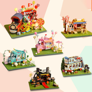 DIY Mini Car Shop Dollhouse Circus Flower Kanto Cooking Kit Assembled Miniature with Furniture Doll House Toys for Kids Girls