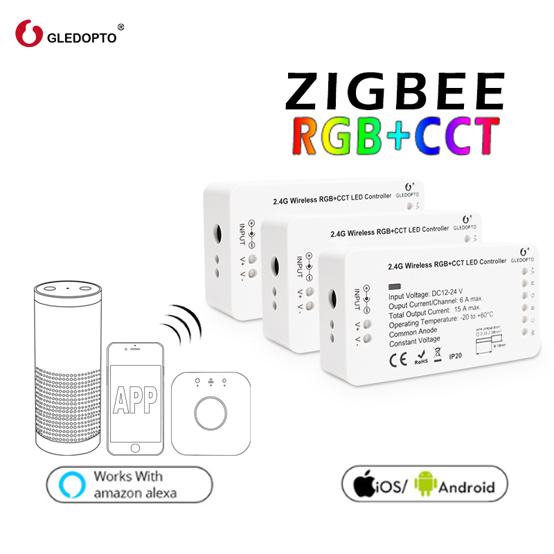GLEDOPTO Zigbee RGB+CCT DC12-24V Smart LED Light Strip Controller Smart Home Work Hue Bridge Amazon Alexa Echo