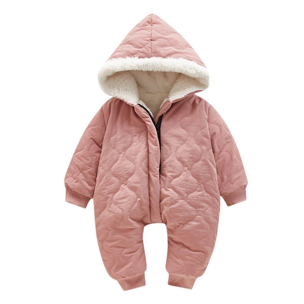 Модный зимний комбинезон для маленьких девочек, детская зимняя куртка толстый зимний комбинезон с капюшоном на молнии, пальто спортивный костюм комбинезоны для новорожденных, Ropa De Invierno - Цвет: Pink