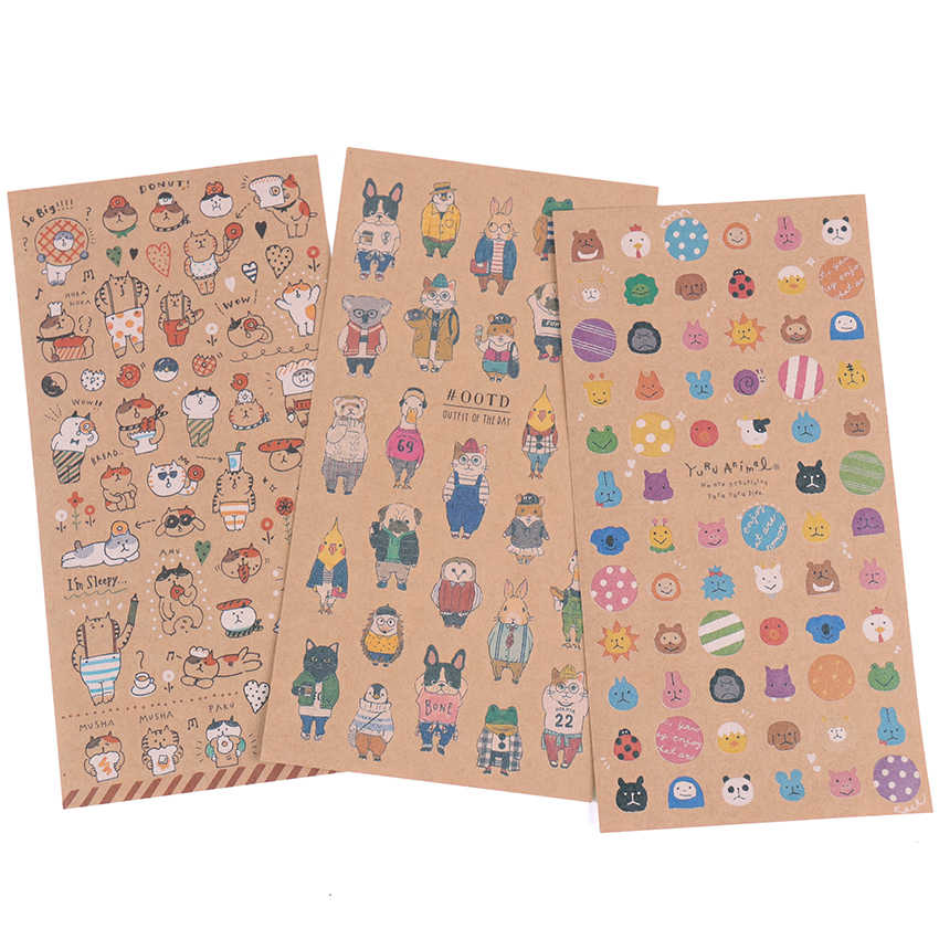 Cute Kraft Paper Cat Sticker Planner Book Diary Decorate Stationery Stickers Scrapbooking Student Stationery Supplies