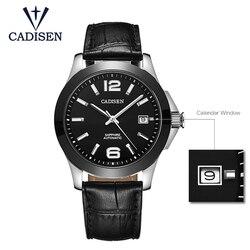 CADISEN1009 zegarki klasyczne męskie AUTO data automatyczne zegarek mechaniczny szkielet analogowy czarne skórzane człowiek czarny ceramiczny zegarek w Zegarki mechaniczne od Zegarki na