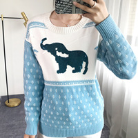 2019 Autumn Winter Thick Women Sweater Jacquard Elephant Sequined Crew Neck Sweater Knitted Pullover Sweater Loose Black Jumper