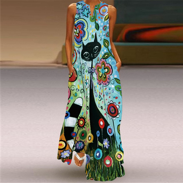 2021 new summer women's dress cotton sleeveless long printed V-neck dresses seaside style Sexy casual loose plus size 5XL dress 6