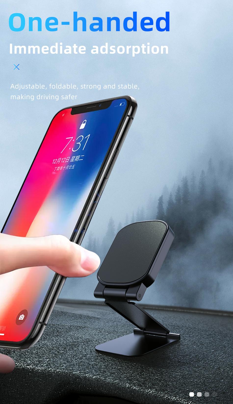 !ACCEZZ Car Magnetic Holder Phone Stand For 11 X Center Console Folding Adjustable Magnet Support Desktop Bracket (5)