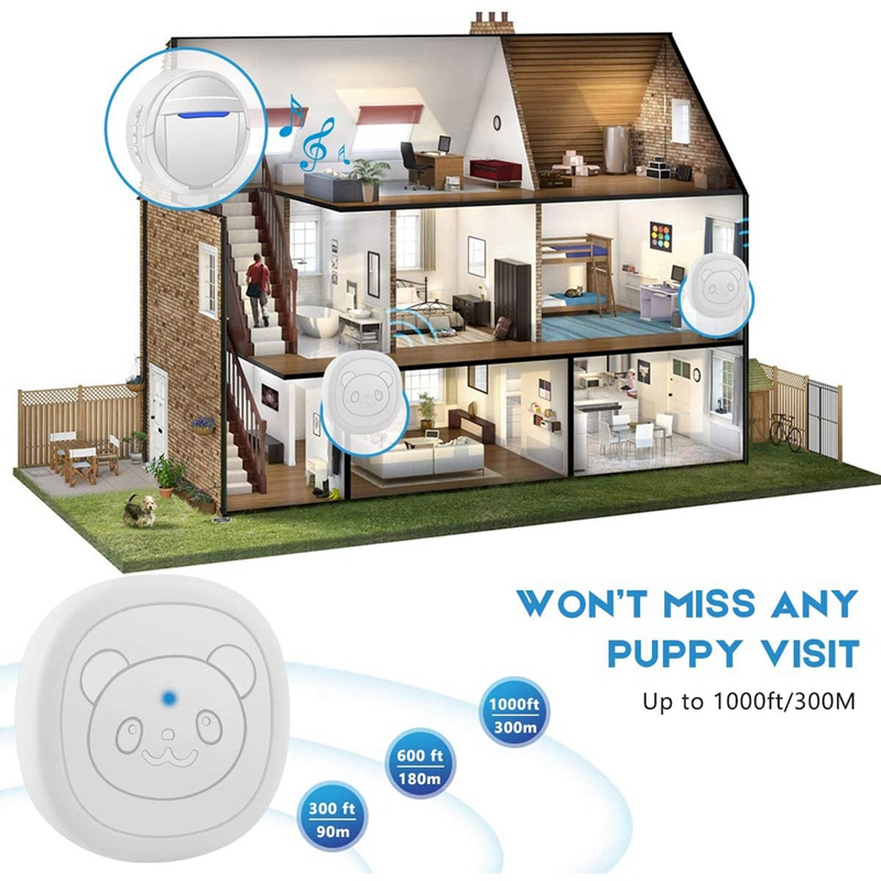 Dog Bells for Potty Training, Dog Training Bell for Door Chime Waterproof Communication Wireless Doggy Doorbell with Transmitter-5