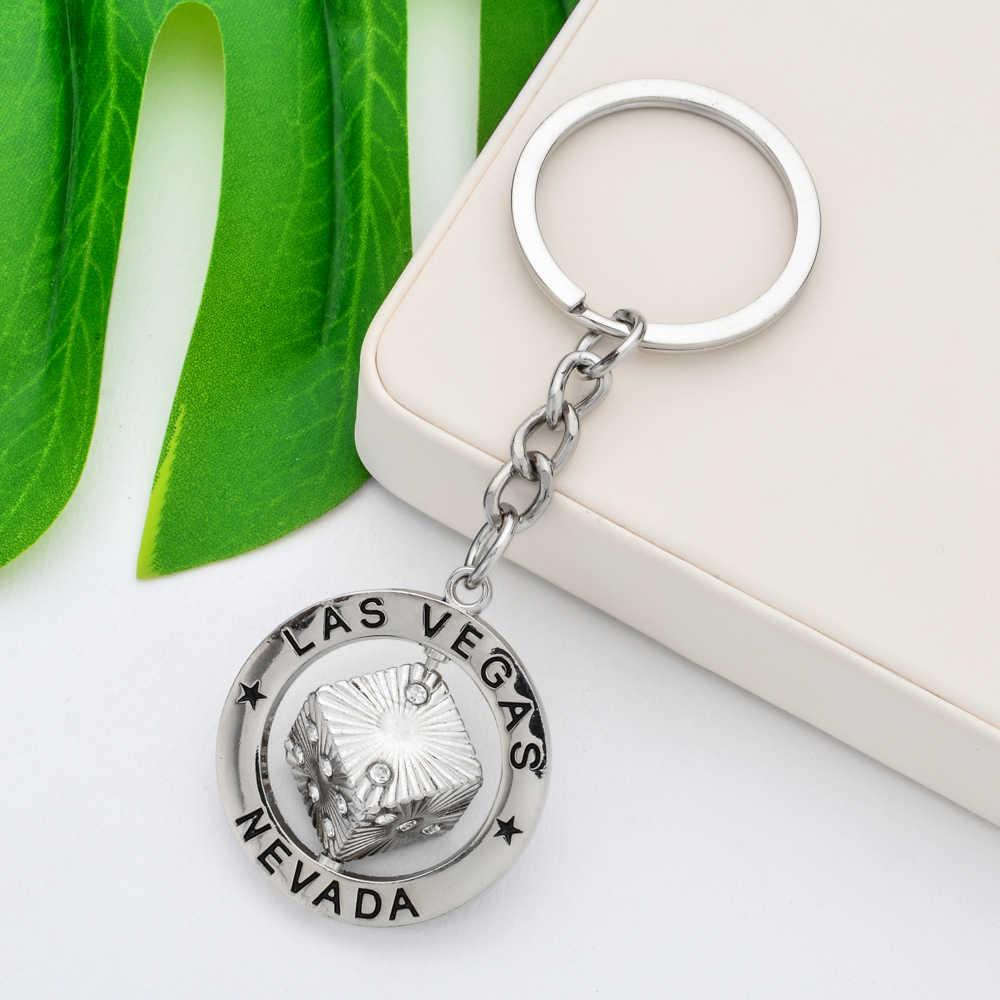 Vicney Cor Rosa Strass Nevada Las Vegas Dice Keychain Para Mulheres Bling Chaveiro Cor Preto Arma Chaveiro Presente Para Namorado