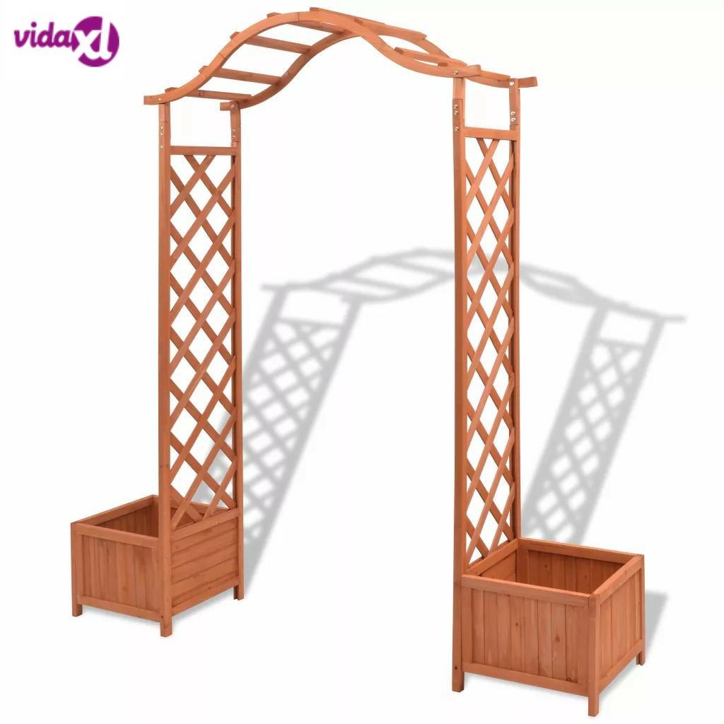 VidaXL 180x40x205 Cm Trellis Rose Arch With Planters Garden Plant Shelves Outdoor Decoration Solid Wood Trellis Easy Assembly
