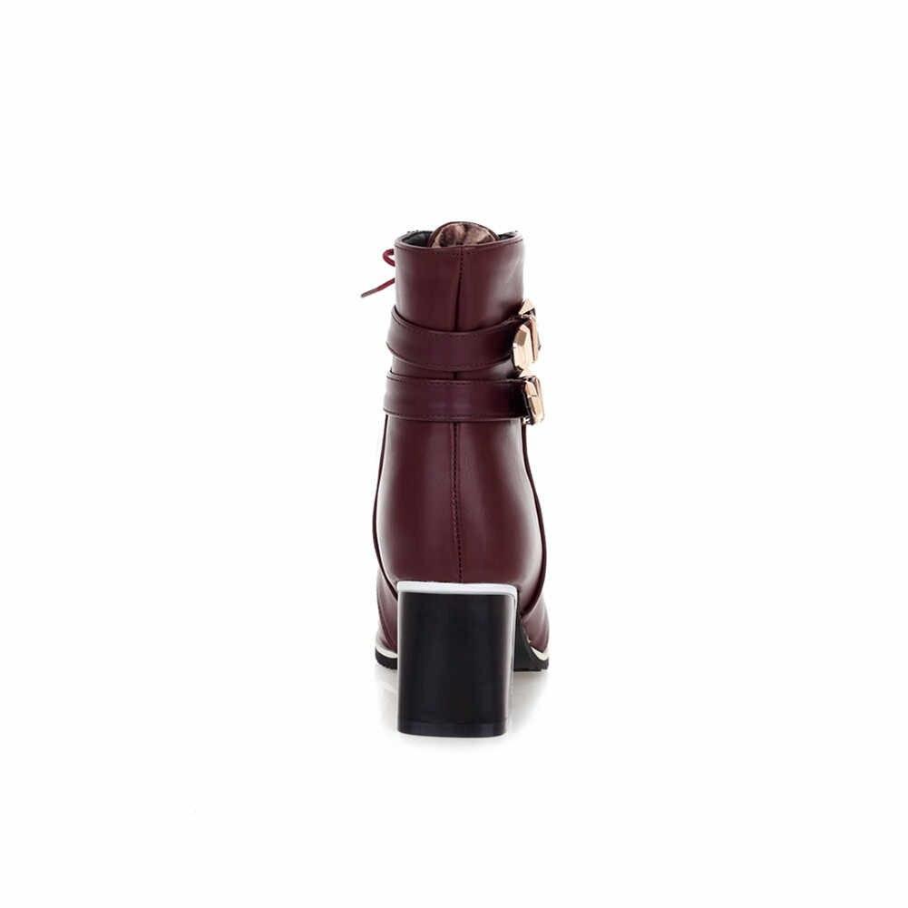 DORATASIA ใหม่ขนาดใหญ่ 34-43 lace-up Fur รองเท้าบู๊ตสุภาพสตรี Elegant เข็มขัดหัวเข็มขัดข้อเท้ารองเท้าผู้หญิง 2019 รองเท้าส้นสูงรองเท้าผู้หญิง