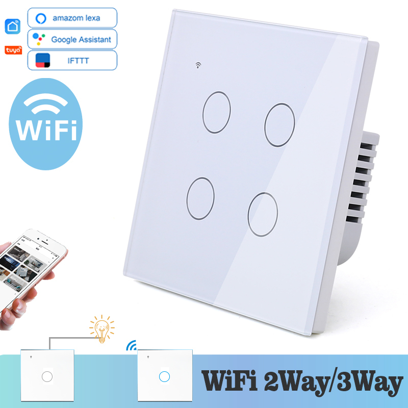 WIFI Touch Light Wall Switch White Glass Panel Blue LED EU & UK Universal Smart Home Phone Control 4 Gang 2 Way Relay Round